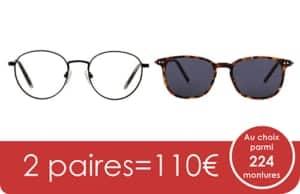 2 paires de lunettes eyelove à votre vue pour vision de loin ou de près 110€